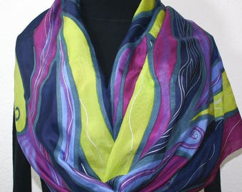 Silk Scarf Handpainted.  Navy, Lime, Burgundy Hand Painted Shawl. Handmade Silk Scarf SUNSET VINEYARDS, in 2 SIZES. Anniversary, Mother Gift