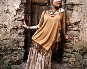 organic bamboo boho gypsy brown  t shirt with hand stitching details and fringes earthy natural