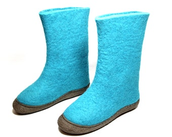 Felt Wool Boots Turquoise Shoes, Snow Boots Rubber Soles, Boiled Wool Boots, Valenki UGG Boots, Snow Winter Boots, Handmade Boots, For Her