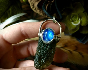 Higher Realms- Moldavite and Rainbow Moonstone Pendant
