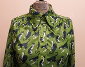 Blouse CAT green blue kitty MEOW novelty print vintage 1970s wide collar disco S