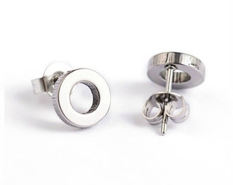 Letter O Stud Earrings Stainless Steel Setting As Seen On Jane.com