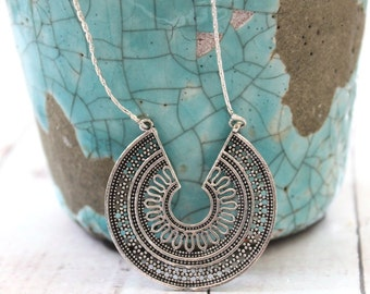 SURYA- Indian Rajasthan Tribal Sun goddess ornate Silver plated pendant Layering necklace Gypsy Bohemian jewelry Designed by Inali