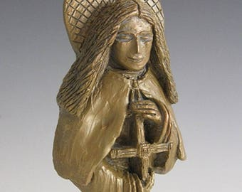 St. Brigid: Patron of Ireland, Students & Saint for House-Blessing; Handmade Statue