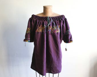 Mexican Embroidered Cotton Blouse