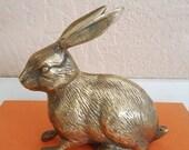 Solid Brass Bunny Rabbit - Made in Korea - Easter Decor - Oak Hill Vintage