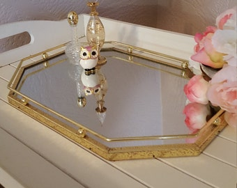 Octagonal Vanity Mirror Tray - Beads and Rails -Hollywood Glam - Oak Hill Vintage