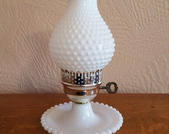 Hobnail Hurricane Lamp, White Milk Glass, Oak Hill Vintage