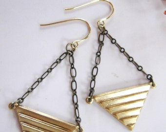 Brass Triangle earrings, Geometric, Art Deco, Gold, Two Tone, Triangle Chandelier Dangles, Modern, Boho Style, Tribal