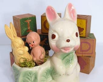 Bunny Rabbit Planter, Child Nursery Room Decor, Baby Shower, Easter