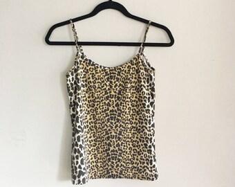 90s Leopard Print Tank Top, Spaghetti Straps, Animal Print, Size Small, 1990s Tank Top, Stretchy Tank Top, Camisole, Scoop Neck