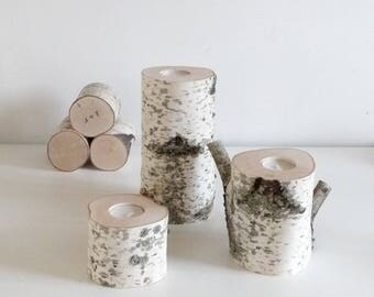 white birch wood candle holders set of 3 (large) - birch candle holders, log candle holders, tree candle holders, romantic gift