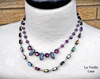 Jet AB Victorian Necklace, Czech Glass Jewel Necklace, Carnival Glass Necklace, Multi-strand Necklace, Victorian Jewelry