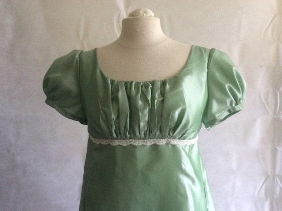 Regency Dress, Gown. Jane Austen. Mint Faux Silk Taffeta.