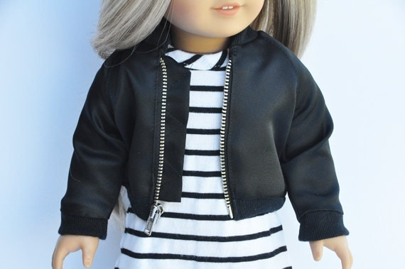 Ag Doll Clothes Black Bomber Jacket By Lorilizgirlsanddolls