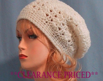 CLEARANCE PRICED 60% OFF - Ivory Slouchy Hat - Hand Crocheted - Soft Acrylic Yarn - Handmade - Ladies Size Small/Medium - Nice Gift