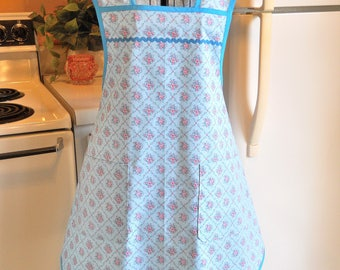 1940's Style Apron in Blue with Pink Roses