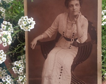 Antique Edwardian Photo - Woman in a Stylish Dress - Vintage Photo - Sepia - Mary Hastings Gullar