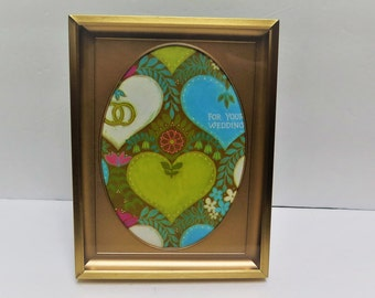 Vintage Brass 5 x 7 picture frame with Oval opening Easel Back