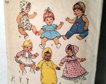 7208 Simplicity Small Kenner Doll Clothes Pattern 1975