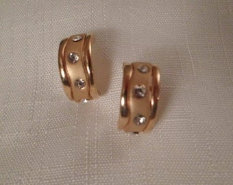 RHINESTONE HOOP EARRINGS / Pierced / Gold / Bridal / Prom / Classic / Traditional / Fashionista / Modernist / Art Moderne / Chic Accessories