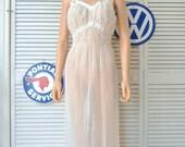 HOLD Vintage 40s 50s Sheer Womens White Nightgown/Full Slip Lingerie/Burlesque Boudoir/Lace Bodice/Pin Up Costume Honeymoon/Nylon Seamprufe