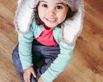 SUMMER SALE 5T to Teen Blue Stripe Bunny Hat Crochet Childs Hat Bunny Beanie - Brown Lagoon Blue Cream Kids Bunny Hat Boy Photo Prop