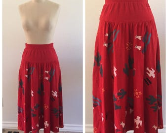 Vintage Southwest High Waisted Midi Skirt - Size Small - 100% cotton - Made in USA - Desert - Festival - Coachella