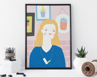 Portrait Print, Girl In Blue Jumper, Portrait of a Girl, Fashion Illustration, Home Decor - 8 x 11 Print