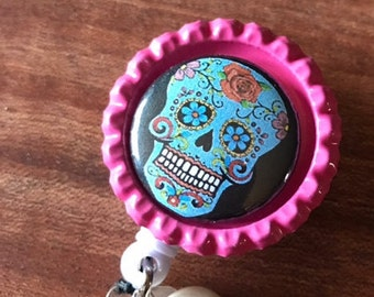 Day of the Dead Badge Holder Retractable Badge Holder Sugar Skull Magnet Badge Holder