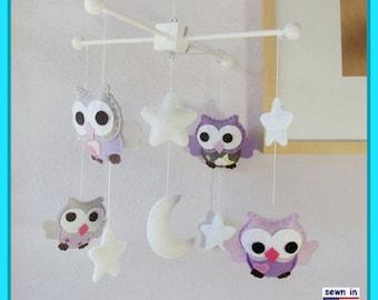 Baby Mobile, Baby Crib Mobile, Purple Nursery Decor, Owl Mobile, Purple and Grey Nursery, Hand Sewn Mobile, Match Bedding Mobile
