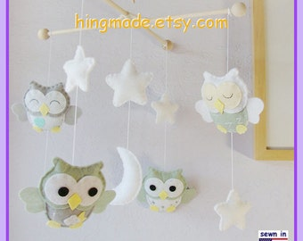Baby Crib Mobile,Owl Mobile,Neutral Color Mobile, Sage and Gray Owls in the White Starry Night, Custom Mobile