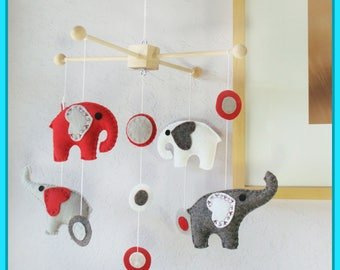 Baby Mobile, Nursery Mobile, Modern Hanging Mobile, Elephants Mobile, Grey Red White modern circles, Custom Mobile