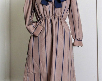 Brown and Navy Striped 1970s Secretary Dress with Navy Sash or Neck Tie Vintage Size 12 Petite