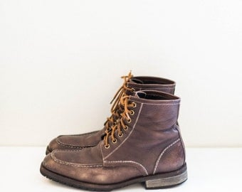 distressed brown leather lace up Johnston & Murphy roper work boots - men's size 9