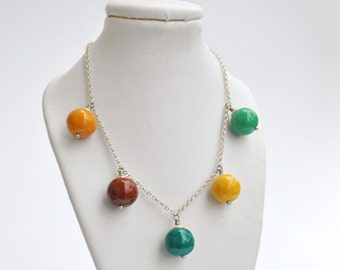 Handpainted necklace 'autumn candies', silver chain, handsculpted beads in autumn colours (ready to ship)