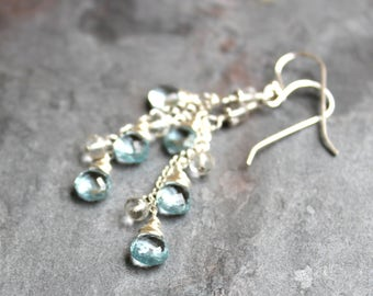 Blue Topaz Earrings Sterling Silver December Birthstone Earrings Waterfall Cascade