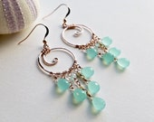 Mint Chandelier Hoops, Rose Gold Koru Earrings, Aqua Chandelier Earrings, Spiral Hoop Earrings, Boho Chandelier