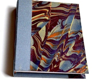 Maroon Journal, Hand Marbled Journal, Hardcover Journal, Handmade Journal, Bookbinding
