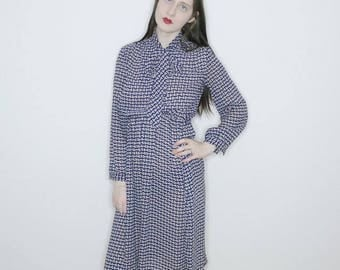 vintage 70s blue floral motif print long sleeve secretary dress size M