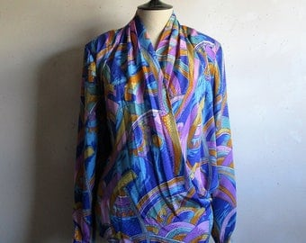 Vintage Plus Size 80s Blouse Purple Gold Abstract Jacquard Wrap Cross Over 1980s Top XL