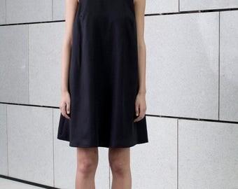 Black minimal summer dress, knee length dress, sleeveless short dress, loose fit, modern day dress, little black dress, black sundress