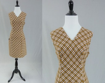 60s Brown Plaid Dress - Sleeveless - Big Pockets - Mod Plaid Dress - Vintage 1960s - M L