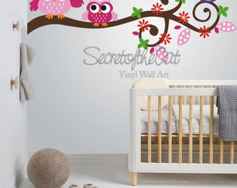 Wall Decals Nursery - Nursery wall decal - Branch Wall Decal - Branch and owls - Swirl branch-  Baby branch Decal - Owls  - Branch