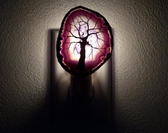 Copper Wire Tree Of Life Metal Wall Art Sculpture On A Purple Agate Geode Stone Crystal Nightlight