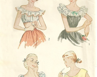 1940s Summer Top Pattern Bust 28 Simplicity 2829 Ruffled Peasant Off Shoulder Bare Midriff