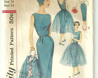 Sheath Dress Jacket and Overskirt Pattern Bust 34 Simplicity 2370 1950s