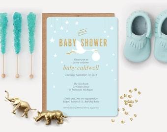 12 Baby Shower Invitations and 12 Envelopes // Blue Stork