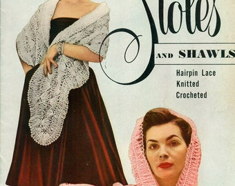 Star Book No. 86 STOLES And SHAWLS Hairpin Lace Knitting Crochet VINTAGE 1950s 1951 American Thread Co.
