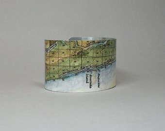 Florida Coast Cuff Bracelet St Augustine Fernandina Beach Amelia Island Anastasia Matanzas Inlet Unique Gift for Men or Women
